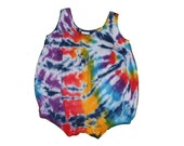 Girls Romper in Rainbow Tie Dye with Navy Accents