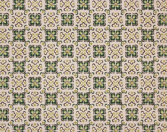 1940s Vintage Wallpaper Green and White Geometric by the Yard