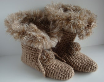 Crocheted Boot Slipper Socks With Pom Poms And Faux Fur Like Cuff - Womens Medium - Taupe / Camel