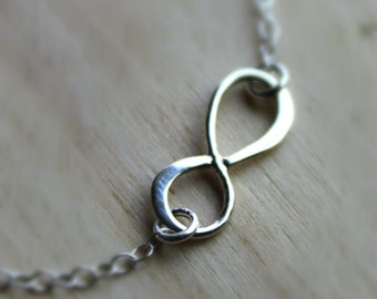 Free Shipping.Infinity Necklace. Sterling Silver. Small charm.