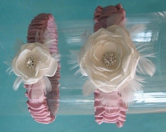 Bridal Garter, Ivory and Pink Satin, Feather Rose Set G102 - bridal garter accessory