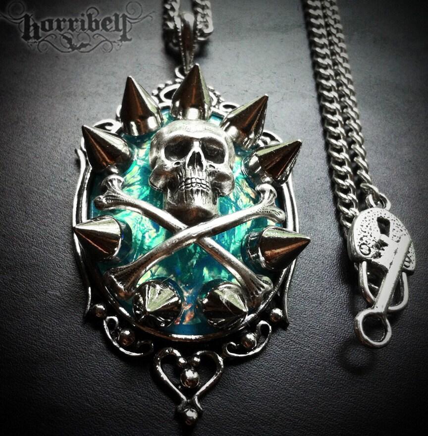 custom spiked skull necklace spike necklace