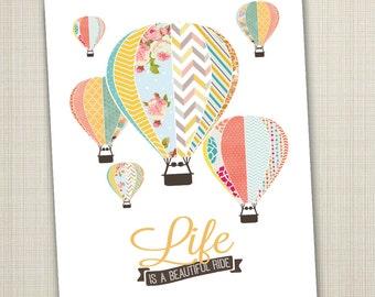 hot air balloon printable 8x10 children's art print