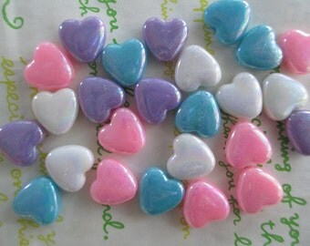 New item Small Flat Heart BEADS 20pcs AB assorted colors