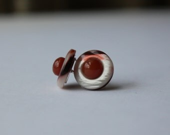 Upcycle with a retro look, Reclaimed Vintage buttons with 6mm carnelian cabochons and sterling silver studs
