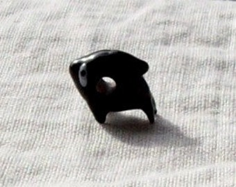 Glass Black and White Whale Bead