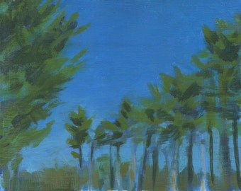 fine art painting - Tall Trees, Winter Day - original small landscape painting by Irene Stapleford - wantknot shop