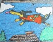 ACEO Dachshund Art Drawing Superhero Wiener Dog