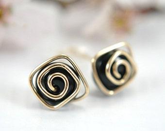 Black onyx post earrings stud earrings square spiral swirl 14k gold filled gemstone wire wrapped medium size 10mm modern minimalist earrings
