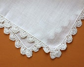 Vintage Handkerchief with Crochet Border in White
