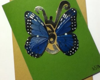 Blue love butterfly card and envelope