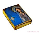 Nativity Star 2 - ACEO Giclee print mounted on Wood (2.5 x 3.5 inches) Folk Art  by FLOR LARIOS