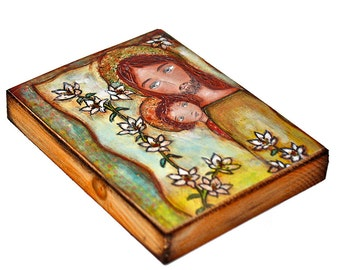 Saint Joseph with Child - Giclee print mounted on Wood (4 x 5 inches) Folk Art  by FLOR LARIOS