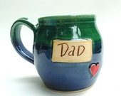 Dad Mug - Green/ Shiny Blue - Round Shape by Julie Payne
