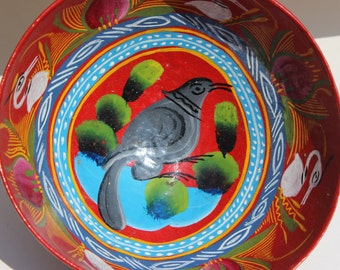 Vintage Wood Bowl Hand Carved and Hand Painted Red Handmade Guatemala