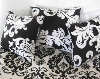 """Cute 5 Piece American Girl 18"""" Doll Bedding Black And White Damask  3 Pillows Bedspread Top Sheet"""