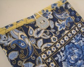 Quilted Sleeve /Case for IPAD, Blue and Yellow Floral Paisley