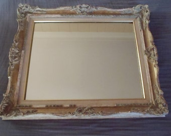 Vintage Plaster Wood Gilded French Style Mirror