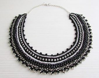 Black pink crochet collar choker chain necklace