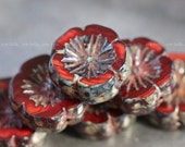 SOUR CHERRY PANSIES .. 4 Picasso Czech Glass Flower Beads 14-15mm (3926-4)