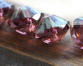 WICKED AMETHYST .. 4 Picasso Czech Glass Rivoli Bead 13x10mm (3768-4)