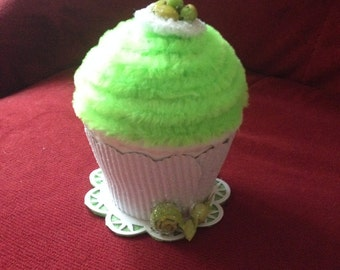Faux/Fake cupcake box—lime green frosting; memento box; birthday gift; party favor