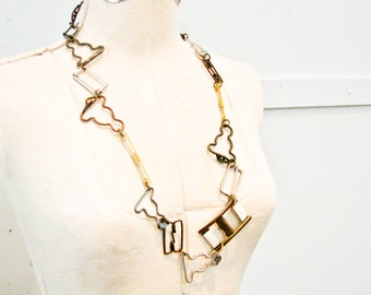 Metal Necklace, Vintage Buckles, Long Necklace, Metal Links, Statement, Gold , Bronze and Silver Links - Unusual