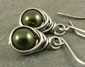 Pearl Earrings, Evergreen Pearl Earrings,  Wire Wrapped Jewelry, Gifts for Her