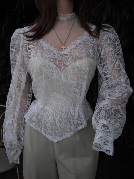 White Victorian High Neck Blouse 27