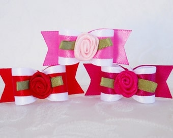 DOG BOW- 5/8 One Perfect Rose Valentines Bow