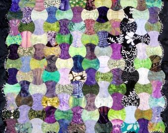Batik Fiber Art Quilt Wall Hanging | Modern Charm Quilt | Hand Pieced/Hand Quilted