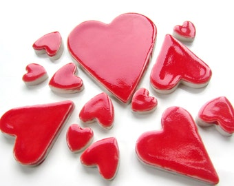 13 mosaic heart tiles, handmade, ceramic mixed size red heart shapes