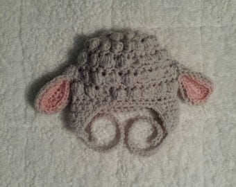 Crocheted Lamb Lambchop Sheep Farm Animal Earflap Hat - Baby, Toddler, Child, Teen and Adult Sizes