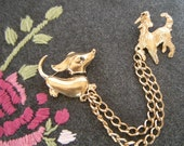 Afghan and Dachshund Vintage Double Brooch