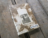 Blank Journal, Handmade Coptic Stitch Travel Journal With Marbled Neutral Lokta and Vintage Photo, Medium Sketchbook