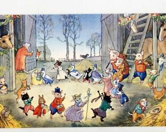 Molly Brett postcard, anthropomorphic  postcard, Barn Dance, Dressed Farm Animals, Pk 312 vintage postcard, artist signed Molly Brett