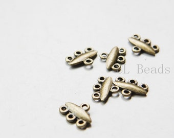 40pcs Antique Brass Tone Base Metal 3 to 1 component or earring findings - 12x9mm (21484Y-C-407)