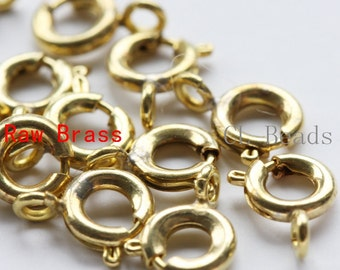 10pcs Raw Brass Round Spring Clasp - Spring Clasp 6mm (338C-I-322)