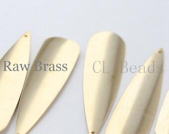 20pcs Raw Brass Long Tear Drop Charm - 48x12mm (1703C-T-62)
