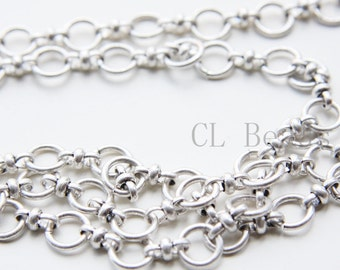 One Foot Oxidized Silver Plated Hand Linked Chain-Ring 9x1.45mm (1806C01)