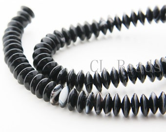 One Strand (16 Inches) Black Onyx Stone-Saucer 10x4mm (105)