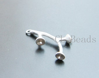 2pcs Matte Silver Plated Brass Base Charm - Branch 23.5x14.4mm (1222C-U-124)