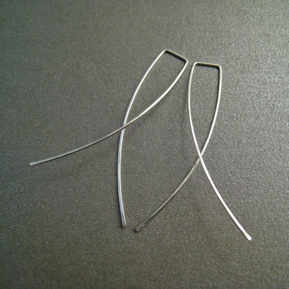 Sterling Silver Dangle Earrings - 2 Inch Long - Hammered - Thin and Dainty - Simple Modern Minimal Wire Jewelry