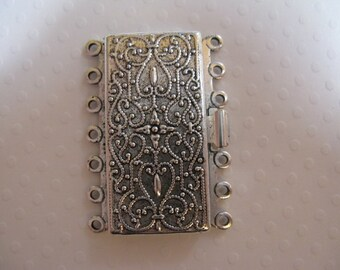 Vintage Look  Silver Plated Brass 36mm x 26mm Clasp - 7 strand -  1 Clasp - nickel free, lead free