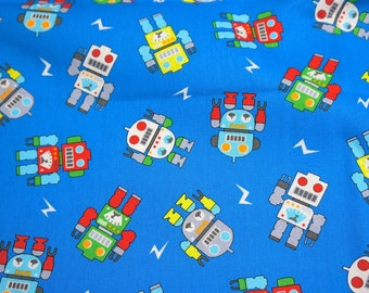 Double Gauze Japanese Fabric Robots 50 cm by 106 cm or 19.6 by 42 inch nc51