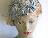 Silver silk cocktail bridal hat - silver rhinestone wedding hat - Rhinestone mother of the bride hat