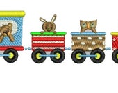 Train with Bears Embroidery Design