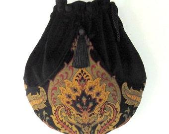 Black Velvet Tapestry Pocket Boho Bag  Drawstring Bag   Bohemian Bag  Crossbody Purse