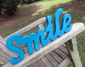 wooden smile wall hanging sign home decor solid color or lightly distressed