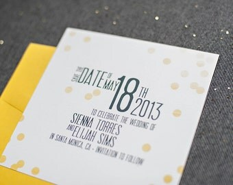 Yellow Confetti Wedding Save the Date Card, Square, Bright, Pastel, Custom Design - Sienna and Elijah